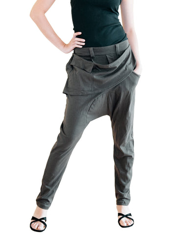 long harem pants detachable waist apron style pocket stretch jersey cotton elastic waist unisex street urban drop crotch trousers olive military green front