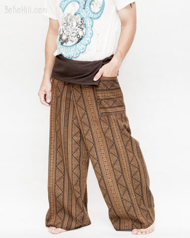 loose fit boot cut wrap around pajamas full body mountain tribal triangle striped motif fold over waist long yoga high quality fisherman pants brown pocket