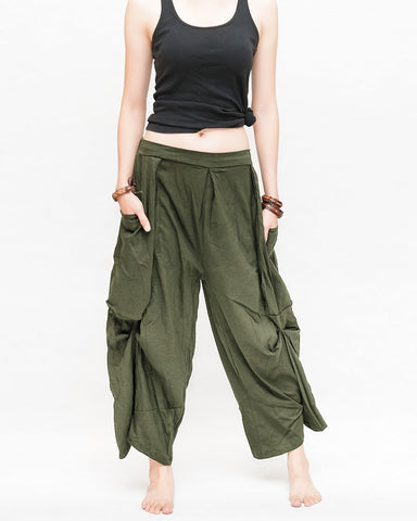 loose fit capri cropped harem pants large oversize side pockets drape winglets airy comfy smart casual trousers olive military green front