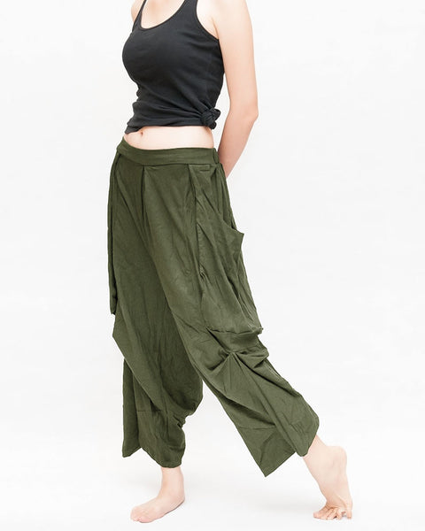 Olive Green Loose Fit Cropped Harem Pants Drop Crotch