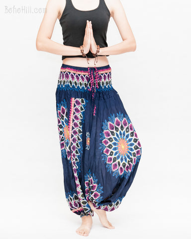 mandala lotus sun flower baggy yoga pants gypsy boho soft rayon shirred waist harem trousers convert to romper navy blue namaste