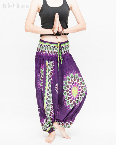 mandala lotus sun flower baggy yoga pants gypsy boho soft rayon shirred waist harem trousers convert to romper purple namaste