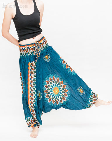 mandala lotus sun flower baggy yoga pants gypsy boho soft rayon shirred waist harem trousers convert to romper teal blue play