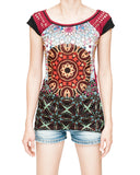 mandalas colorful dreamcatcher full frontal print bohemian cap sleeves bohemian t shirt maroon burgundy precision cut roman leaf vine rip shoulders black trim front