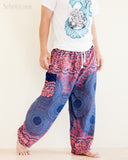 mandalas flora honeycomb yoga pants pink blue soft rayon aladdin genie comfortable pajamas trousers walk