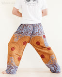 mandalas flora psychedelic honeycomb yoga pants blue brown soft rayon aladdin genie comfortable pajamas trousers back