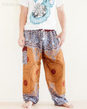 mandalas flora psychedelic honeycomb yoga pants blue brown soft rayon aladdin genie comfortable pajamas trousers front