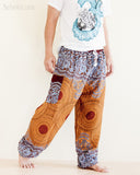 mandalas flora psychedelic honeycomb yoga pants blue brown soft rayon aladdin genie comfortable pajamas trousers walk