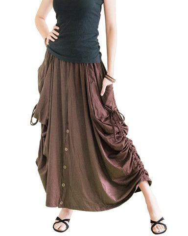 maxi skirt curtain side pull on drawstring convertible long skirt to wide leg palazzo pants with split buttons heave stretch jersey cotton brown left