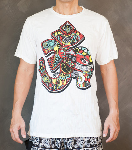 Men's T-shirts - Colorful Art Decor Hindu Om Design Crinkle Men's T-Shirt (White)