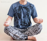 Men's T-shirts - Ganesha Hindu Om Drawing Crinkle Men's T-Shirt (Grayish Navy)