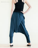 minimalist unisex harem pants heavy stretch jersey cotton stylish single button street urban low crotch trousers cuff leg elastic waist dark navy blue back