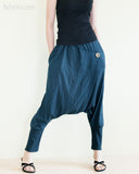 minimalist unisex harem pants heavy stretch jersey cotton stylish single button street urban low crotch trousers cuff leg elastic waist dark navy blue front