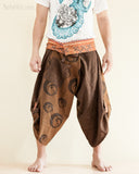Yin Yang Moon Crest Size M/L Unique Wrap Around Samurai Harem Pants Brown front