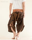Yin Yang Moon Crest Size M/L Unique Wrap Around Samurai Harem Pants Brown rear
