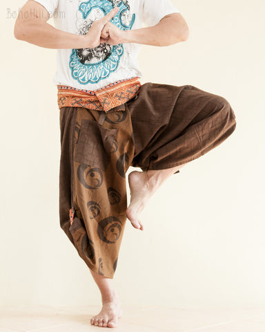 Yin Yang Moon Crest Size M/L Unique Wrap Around Samurai Harem Pants Brown respect