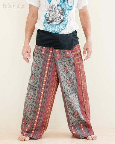 Mountain Tribal Printed Cotton Thai Fisherman Pants Rustic Red Hmong Hill Tribe front