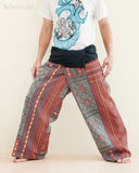 Mountain Tribal Printed Cotton Thai Fisherman Pants Rustic Red Hmong Hill Tribe wide