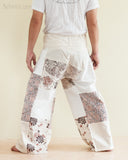 Natural Cotton Handmade Patchwork Fisherman Pants Wrap Yoga Trousers Cream SOL11 back