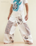 Natural Cotton Handmade Patchwork Fisherman Pants Wrap Yoga Trousers Cream SOL11 left
