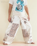 Natural Cotton Handmade Patchwork Fisherman Pants Wrap Yoga Trousers Cream SOL11 right