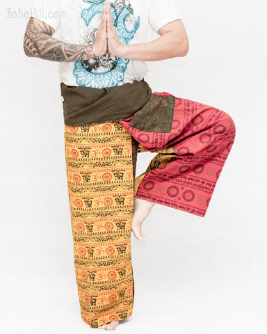 nepali stone washed wrap around loose fit yoga pants rustic om pattern fold over waist fisherman pants red yellow OMF14 namaste