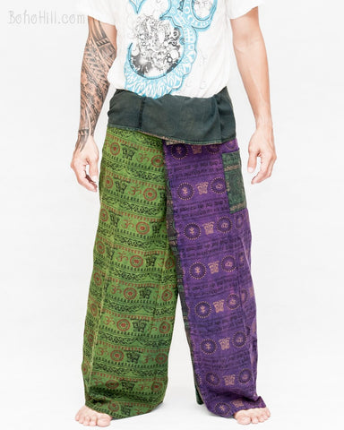 nepali stone washed wrap around loose fit yoga pants rustic spiritual om pattern fold over waist fisherman pants red yellow OMF15 front