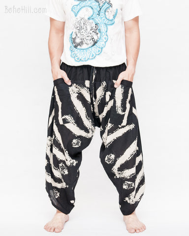 ninja pants active samurai harem trousers elastic drawstring waist parkour flow pants black zigzag artistic brush front