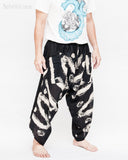 ninja pants active samurai harem trousers elastic drawstring waist parkour flow pants black zigzag artistic brush side