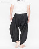 ninja pants active samurai harem trousers elastic drawstring waist parkour flow pants plain solid black back