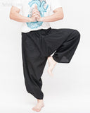 ninja pants active samurai harem trousers elastic drawstring waist parkour flow pants plain solid black dance