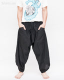 ninja pants active samurai harem trousers elastic drawstring waist parkour flow pants plain solid black front