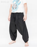 ninja pants active samurai harem trousers elastic drawstring waist parkour flow pants plain solid black side