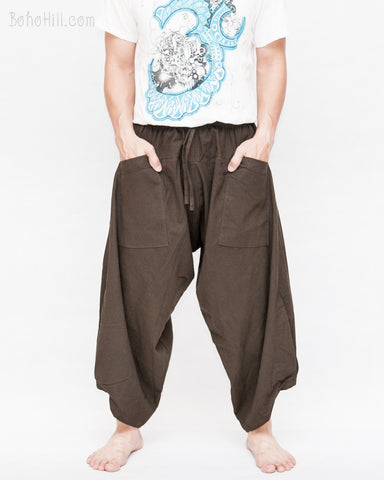 ninja pants active samurai harem trousers elastic drawstring waist parkour flow pants plain solid brown front