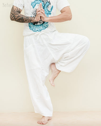 ninja pants active samurai harem trousers elastic drawstring waist parkour flow pants solid plain white zen meditation dance
