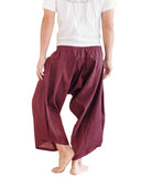 ninja style active samurai harem pants flexible airy low crotch tribal cropped flow parkour trousers pull on elastic shirred waist plain solid burgundy red warrior back