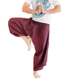 ninja style active samurai harem pants flexible airy low crotch tribal cropped flow parkour trousers pull on elastic shirred waist plain solid burgundy red warrior dance