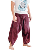 ninja style active samurai harem pants flexible airy low crotch tribal cropped flow parkour trousers pull on elastic shirred waist plain solid burgundy red warrior side