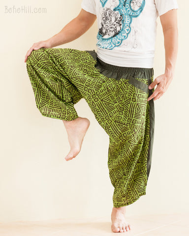 Ninja Style Samurai Harem Pants Green Tribal Broken Rock dance