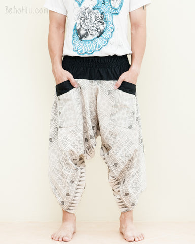 ninja style active samurai pants flexible airy loose fit yoga harem flow crop trousers shirred waist off white sandy cream inca aztec tribal squares pocket