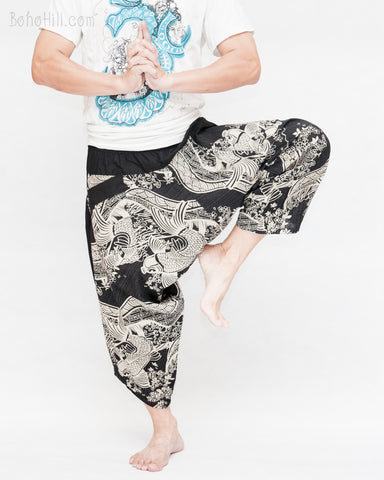 ninja style parkour harem pants flexible samurai low crotch airy comfortable japanese tribal cropped trousers elastic shirred waist flying fish spring river waves black dance