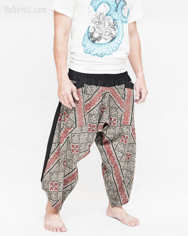 ninja style parkour harem pants flexible samurai low crotch airy comfortable loose yoga cropped trousers elastic shirred waist black red mountain tribal motif side