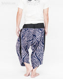 ninja style parkour harem pants flexible samurai low crotch airy comfortable loose yoga cropped trousers elastic shirred waist cool blue camo wild african zebra stripe back