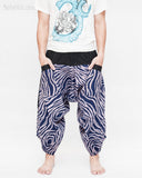 ninja style parkour harem pants flexible samurai low crotch airy comfortable loose yoga cropped trousers elastic shirred waist cool blue camo wild african zebra stripe front
