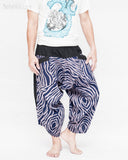 ninja style parkour harem pants flexible samurai low crotch airy comfortable loose yoga cropped trousers elastic shirred waist cool blue camo wild african zebra stripe relax