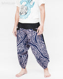 ninja style parkour harem pants flexible samurai low crotch airy comfortable loose yoga cropped trousers elastic shirred waist cool blue camo wild african zebra stripe side