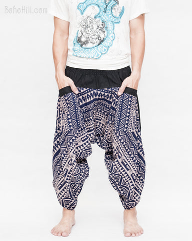 ninja style parkour harem pants flexible samurai low crotch airy comfortable loose yoga cropped trousers elastic shirred waist cool blue tribal triangle stripe front