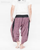 ninja style parkour harem pants flexible samurai low crotch airy comfortable loose yoga cropped trousers elastic shirred waist purple tribal broken rock back