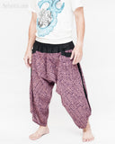 ninja style parkour harem pants flexible samurai low crotch airy comfortable loose yoga cropped trousers elastic shirred waist purple tribal broken rock side