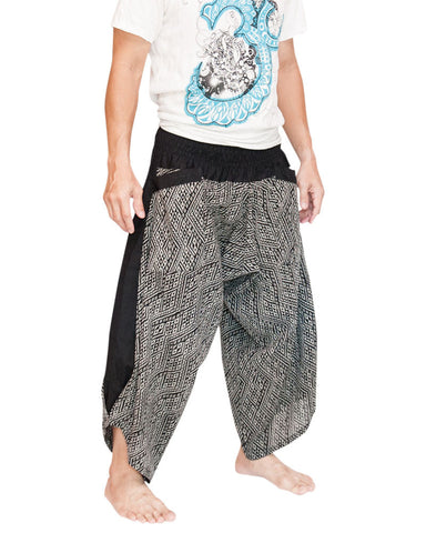 Ninja Style Samurai Active Harem Pants Parkour Flow Cropped Black Diamond Weave Side